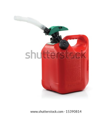 "Plastic gasoline can with ""eco-friendly"" safety spout. Isolated on pure white background. No color bleed at edges of image. - stock photo"