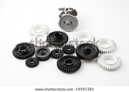 Plastic gears isolated on black background