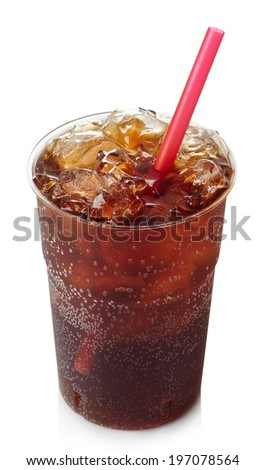 Plastic glass of cola with ice and straw isolated on white background - stock photo