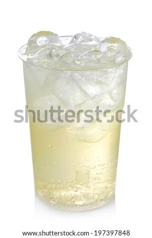 Plastic glass of lemon lemonade with ice isolated on white background - stock photo
