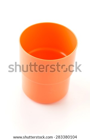 plastic glass on white background