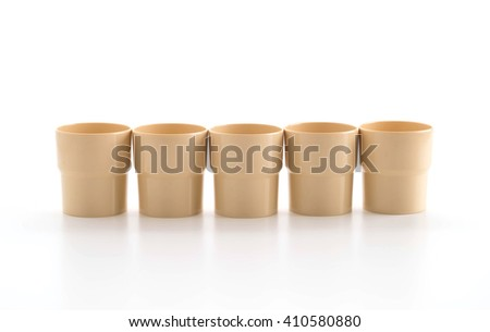 plastic glass on white background - stock photo