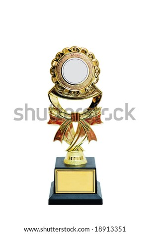 Plastic gold trophy isolated with clipping path - stock photo