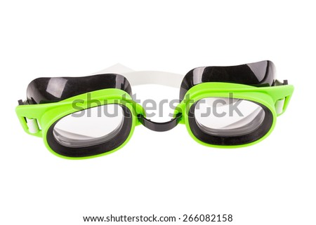 Plastic green goggles for swimming. Isolated on a white background. - stock photo