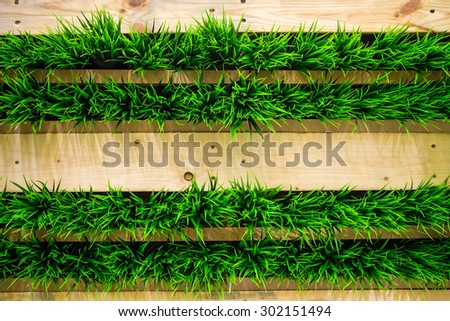 Plastic green grass in wooden wall