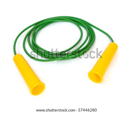 Plastic green jump rope isolated on white - stock photo