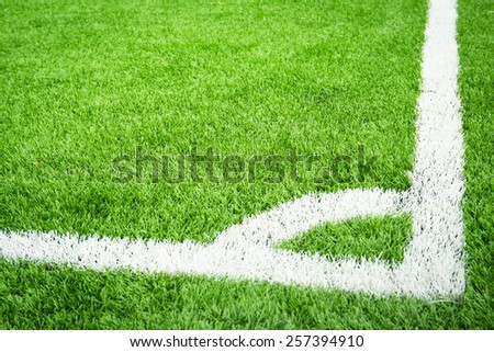Plastic green soccer field with conner - stock photo
