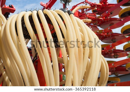 plastic hose to the agricultural machine