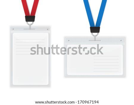 Plastic ID Badges. Isolated on White illustration. - stock photo