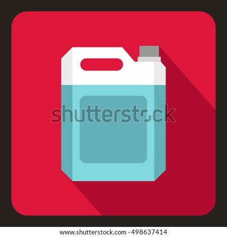 Plastic jerry can icon in flat style on a crimson background  illustration