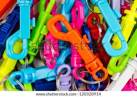 plastic key tags with multiple colors - stock photo