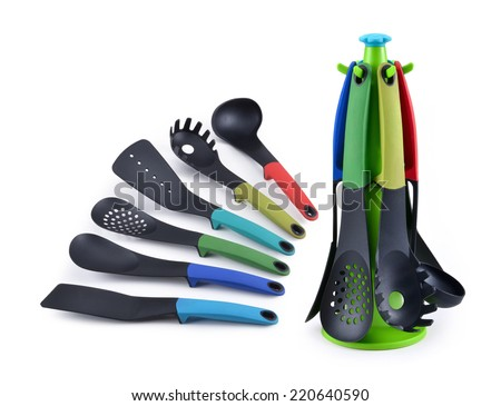 Plastic kitchen utensils - stock photo