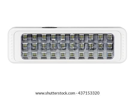 plastic LED flashlights on white background - stock photo