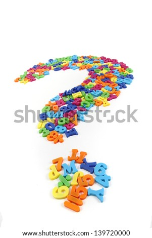 plastic letters isolated on the white background (question sign) - stock photo
