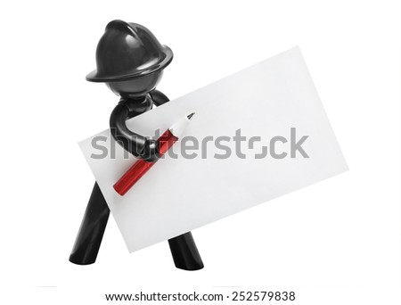Plastic man in a helmet with a business card and a ballpoint pen - stock photo