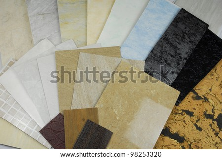 plastic marble panels  samples - stock photo