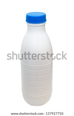 plastic milk bottle isolated on white (clipping path) - stock photo
