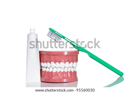 Plastic model of teeth with toothbrush and toothpaste, isolated on white background