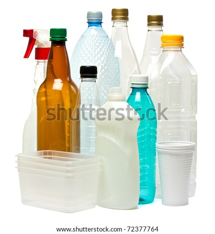 Plastic objects isolated on white.