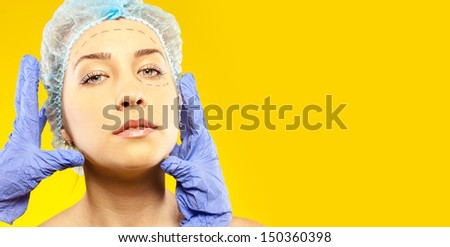 plastic of face. surgery. studio - stock photo