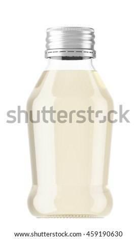 Plastic or glass small bottle isolated on white background. 3D Mock up for your design. Oil, shampoo, conditioner, shower gel, cosmetics, beverage, lemonade, soda, perfume.