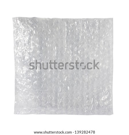 Plastic Packaging Shockproof with Bubbles Isolated On White - stock photo
