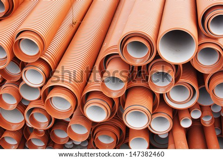 Plastic pipes for sewerage - stock photo
