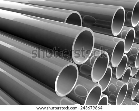 Plastic pipes of grey color - stock photo