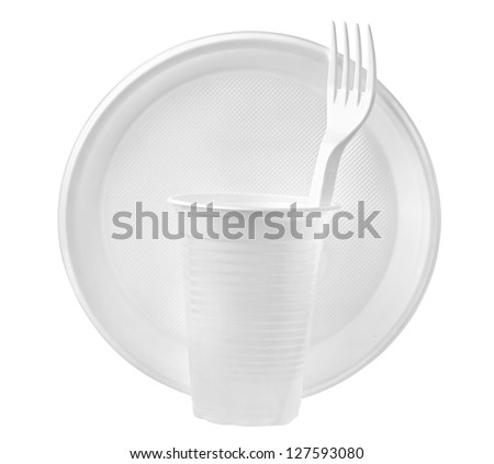 plastic plates and glasses - stock photo