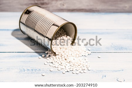 Plastic polymer granules. - stock photo