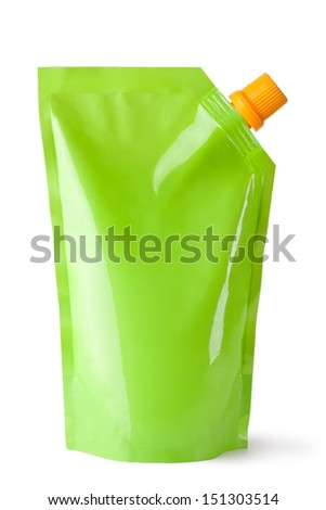 Plastic pouch with batcher. Isolated on a white.