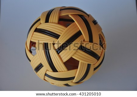 Plastic rattan ball isolated on white background