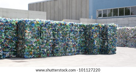 Plastic ready to be recycled in the yard of a company specializing in ecological treatments - stock photo