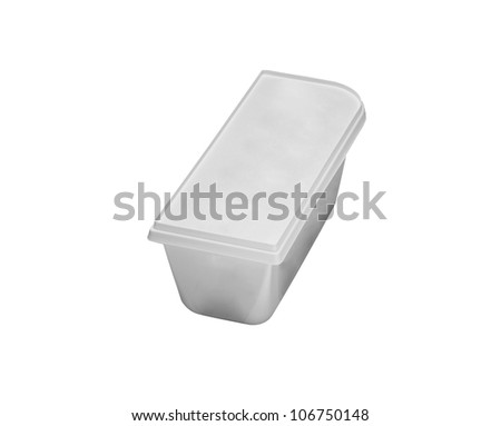 Plastic rectangular container for dairy foods - stock photo