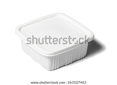 Plastic rectangular container for dairy foods. Isolated over white background with shadow