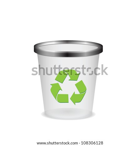 Plastic recycle trash can vector illustration