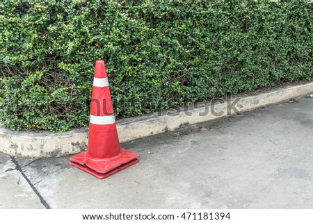 Plastic red cone and green trimmed plants on the concrete road