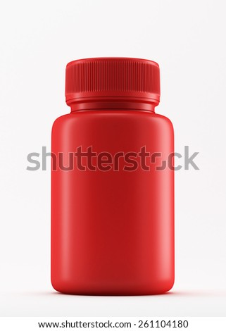 Plastic red medicine bottle with on white background. - stock photo