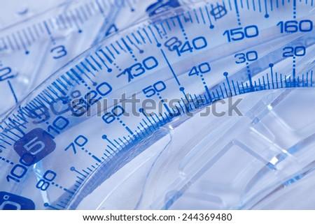 Plastic rulers - stock photo