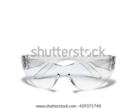 Plastic safety glasses isolated on white background - stock photo