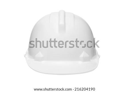 Plastic safety helmet isolated on white background. - stock photo