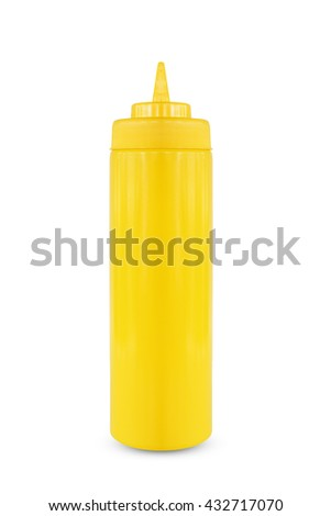 Plastic sauce bottle isolate on white background.