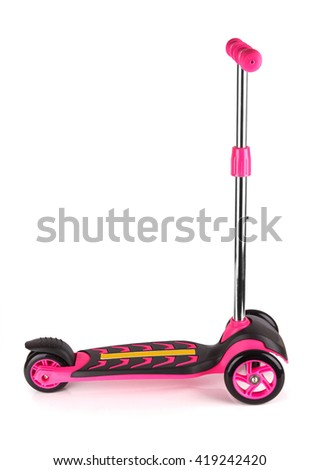 Plastic scooter isolated on a white background - stock photo