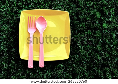 plastic set  which have plate spoon and fork are on turf in dry paint - stock photo