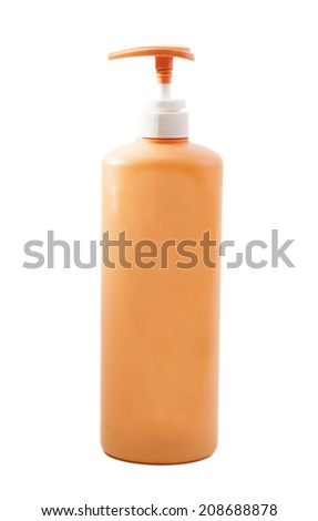 Plastic Shampoo bottle on white background  - stock photo