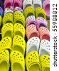 plastic shoes on the market - stock photo