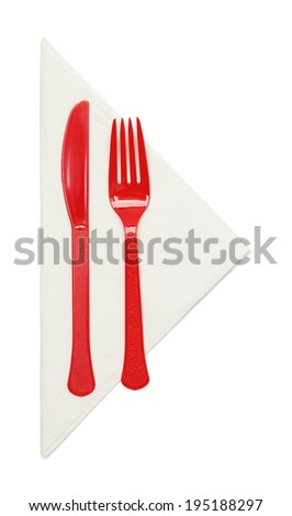 plastic silverware with napkin isolated on white background