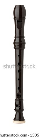 Plastic Sopranino Recorder isolated on white with clipping path - stock photo