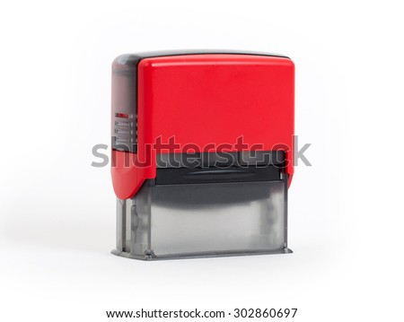 Plastic stamp isolated on a white background
