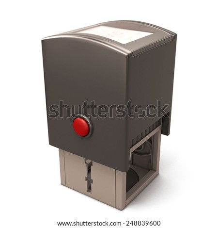 Plastic stamp isolated on a white background. 3d render image. - stock photo